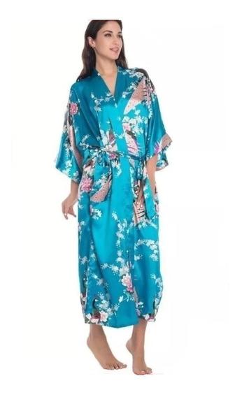 Kimono De Cetim Longo Azul Turqueza Estampa De Pavão