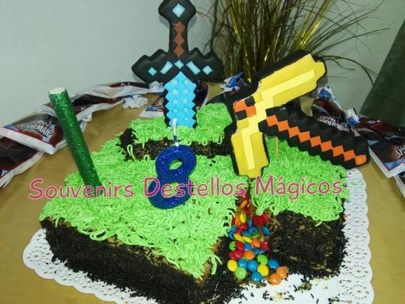 Adorno Minecraft Espada+ Pico Aprox 12-15cm