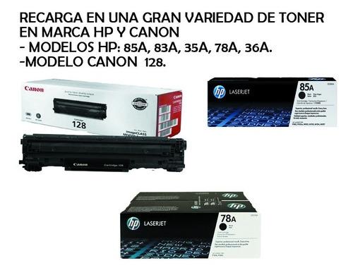 Recarga De Toner Hp 85a 78a 35a Y Canon 128 A Domicilio