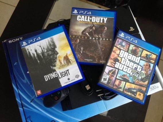 Playstation 4 - Ps4 - 1115a - 3 Jogos E 2 Controles