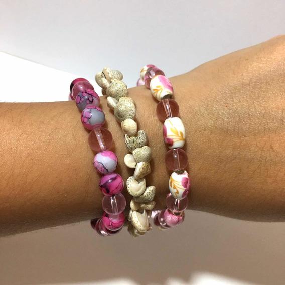 3 Pulseras Perlas De Cristal Y Conchas De Mar Bisutería Moda