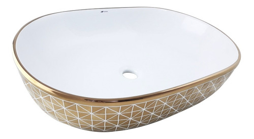 Cuba Dourado Saturado Banheiro Lavabo Cerâmica Sobrepor Oval
