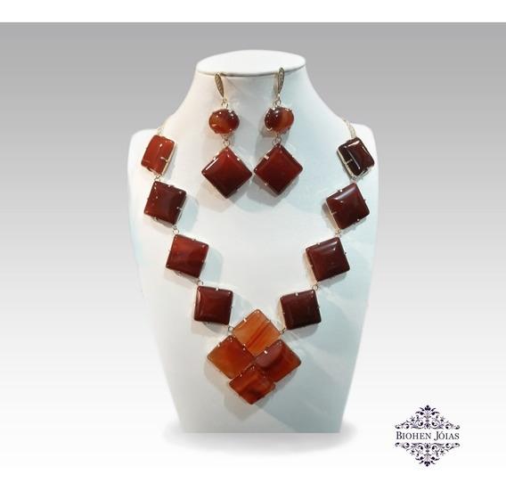 Conjunto Brincos Colar Ágata Vermelha Pedra Natural Banhado Em Ouro