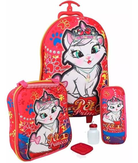 Kit Mochila Infantil Gatinha Princess Escolar Tam G + Brinde