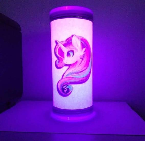 Luminária Abajur De Led Geek Unicórnio Rosa Pink Azul Menina