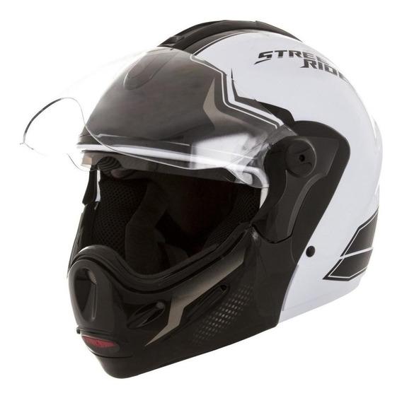 Capacete para moto escamoteável Mixs Captiva Street Rider branco tamanho 58