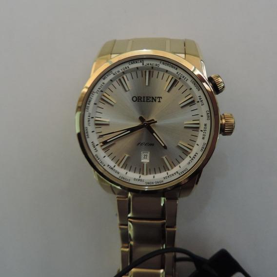 Relógio Orient Mgss1098 Dourado Masculino Visor Prata