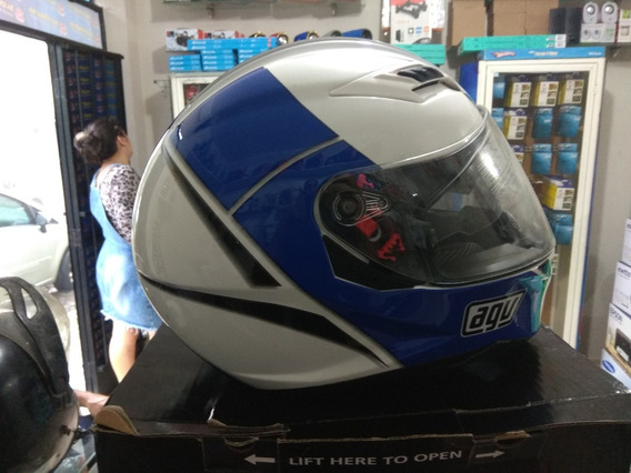 Capacete Agv Skyline M 57/58 E22052 Multi Block White/blue