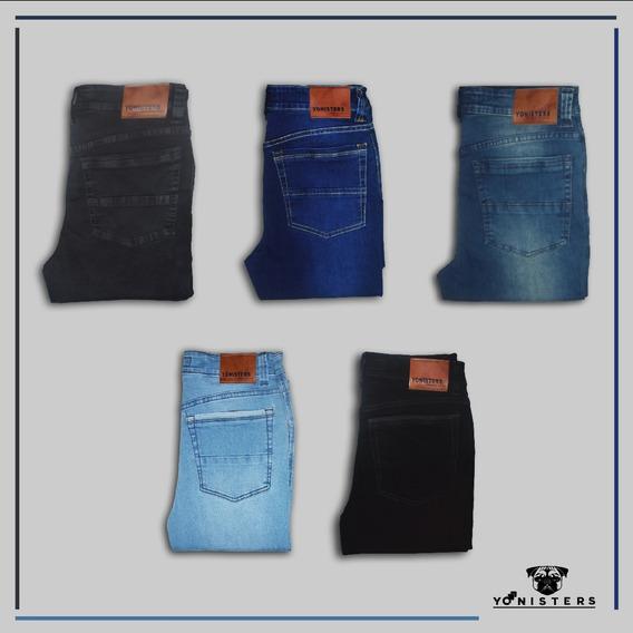 Pantalones Hombre Jeans Semipitillo Strech