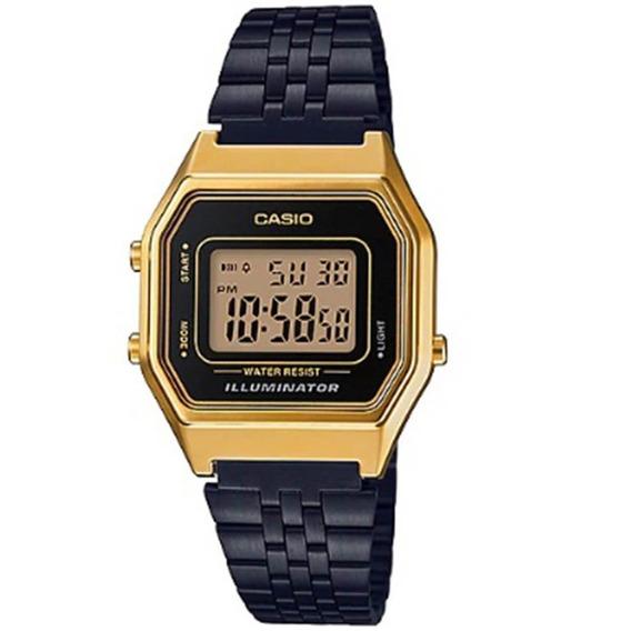 Relógio Casio Vintage Digital La680wegb-1adf Preto Dourado