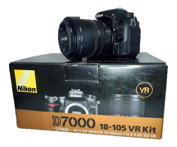 Câmera Nikon D7000 Lente 18-105 Mm Perfeito Estado Semi Nova Caixa Original