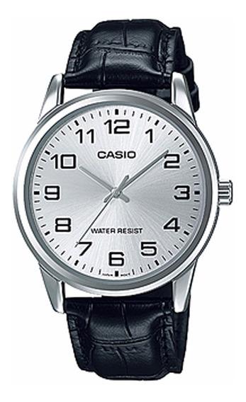 Relógio Casio Masculino Mtp-v001l 7budf Prata Couro Preto