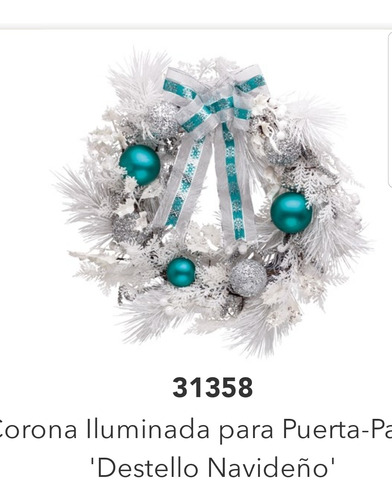 Imagen 1 de 3 de Corona Blanca Con Azul Turquesa Navideña Para Puerta Home