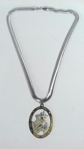 Cordão Aço Medalha De São Jorge