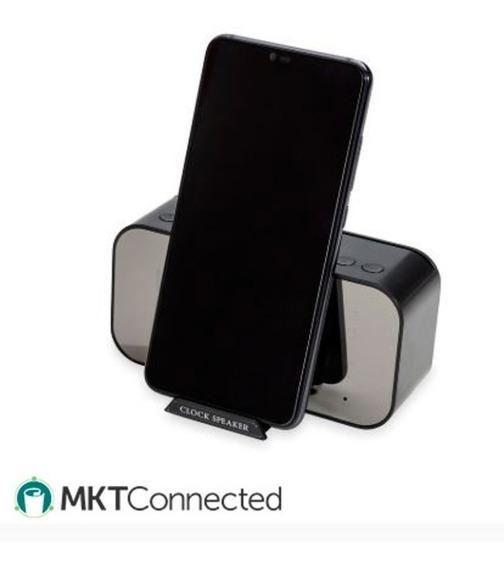 Caixa De Som Multimídia Suporte P Celular E Relógio Digital