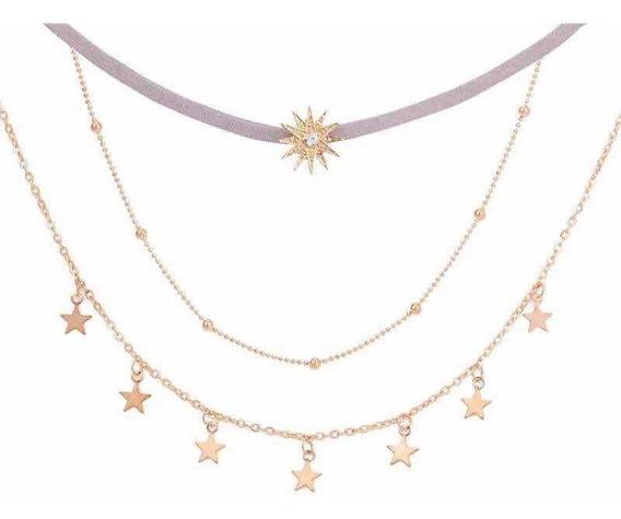 Collar Choker 3 En 1 Estrellas Universo Terciopelo