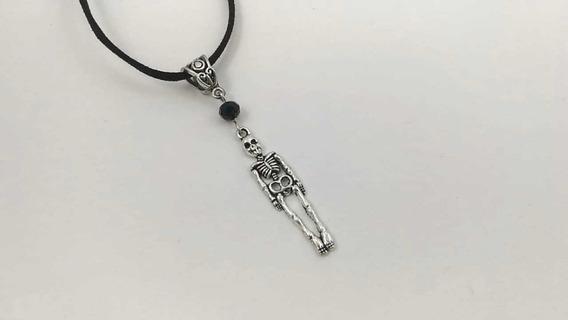 Collar Gamuza Esqueleto Goth Gotico Dark