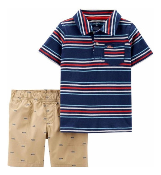 Conjunto Para Niño Short Y Camisa Azul Rayada 3 Y 4
