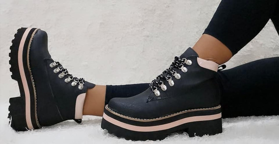 Borcegos Mujer Zapatos Abrigados Botas Plataforma Botinetas Moda Otoño Invierno 45