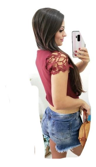 Camisa Feminina Manga Curta Com Renda Com Botão Social