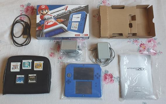 Nintendo 2ds Desbloqueado + 5 Jogos Originais + 3 Acessórios
