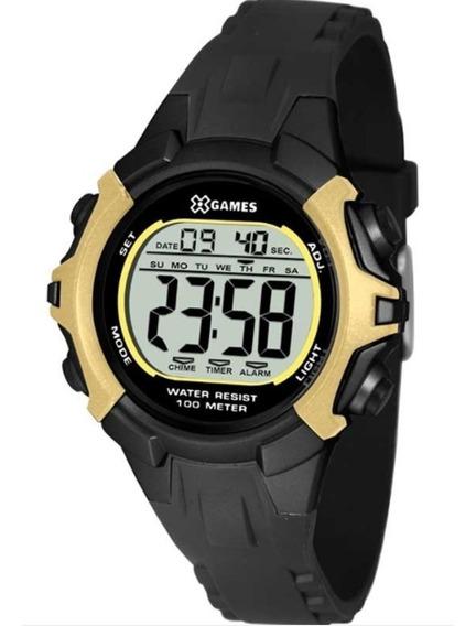 Relógio Esportivo Feminino X-games Xkppd057 Preto / Dourado
