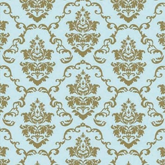 Papel Contact - Papel De Parede - Azul E Ouro - Arabesco