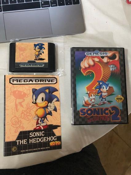 Lote Sonic 1 Loose Tectoy E Sonic 2 Completo Originais