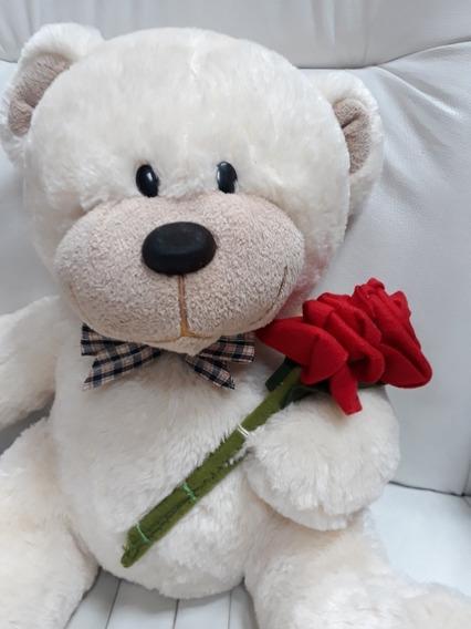 Urso Ursinho C/ Flores Pelúcia 50cm Presente Namorada Natal