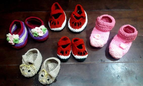 Tejidos Crochet Escarpines Botitas Zapatitos Bebe Artesanal