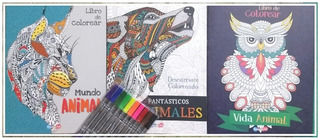 Mandalas 3 Libros Para Colorear Animales + Plumones + Envio