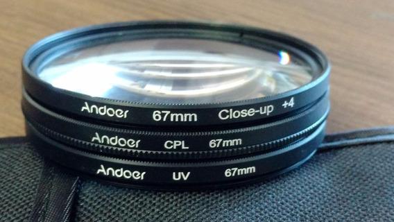 Kit Polarizador Cpl + Uv + Close Up Macro +4 + Case 67mm