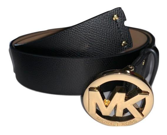 Cinturón Dama Mk 100% Orig Hebilla Círculo Cinto Negro Liso