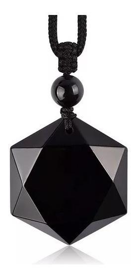 Pedra Obsidiana Negra Estrela Hexagonal Hexagrama Colar De Proteção Protege Contra Más Energias