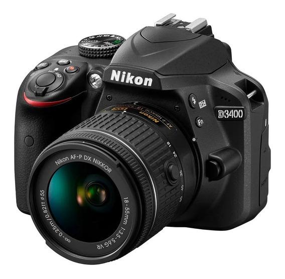 Câmera Nikon D3400 Com Lente 18-55mm Vr 24.2 Mp Tela 3.0