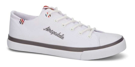 Sneaker Aeropostale Corte De Lona Tipo Converse Blanco/negro