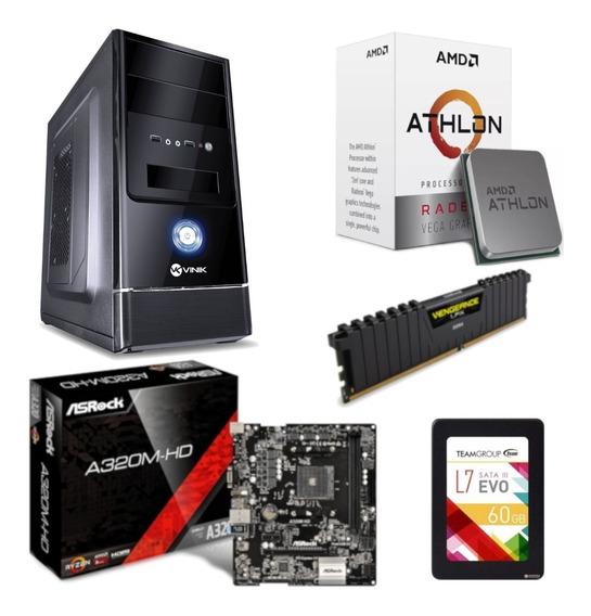 Pc Completo G1 One Athlon 200ge A320m Hd Vg 4gb Ssd 60gb