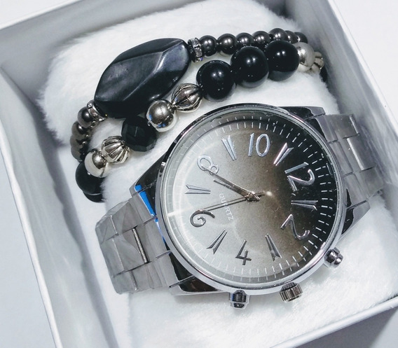 Relógio Feminino Prata Luxo Social Lindo Bonito + Pulseira
