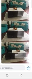 Mesa Centro Minimalista De Lujo Cubos Caoba Con Blanco !!!