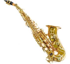 Saxofone Sax Benson Soprano Curvo Bb Si Bemol Laqueado