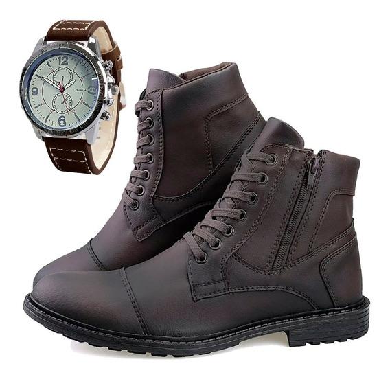 Bota Sapato Casual Masculina C/ Ziper + Relógio Original Dhl