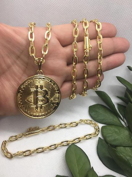 Corrente Masculina Banhada A Ouro Pingente Bitcoin Pulseira