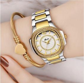 Relógio Stras Luxo Banhado A Ouro