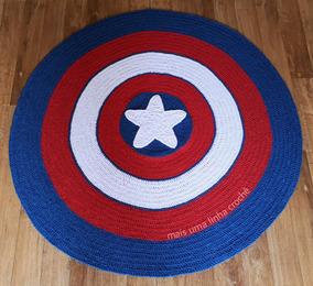 Tapete Redondo De Crochê Capitão América Quarto Infantil