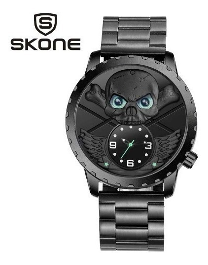 Relógio Preto Masculino Pulso Caveira Cranio Skone Promoção