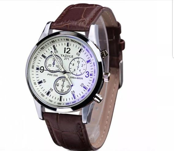 Relógio Luxo Masculino Pulseira De Couro Geneva