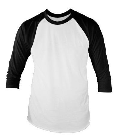 Camiseta Camisa Raglan 3/4 100% Algodão