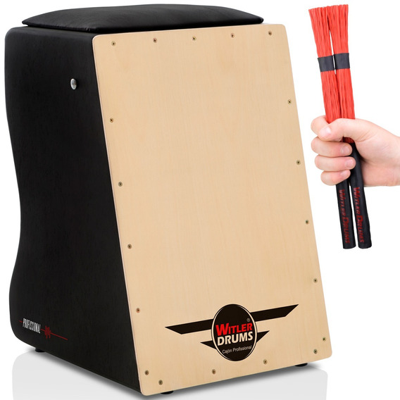 Cajón Eletroacústico Witler Drums | 02 Vassourinhas | Brinde
