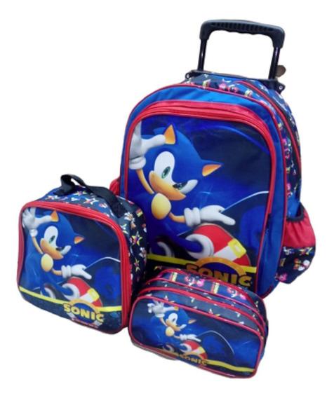 Mochila Infantil Sonic Games Rodinhas Bolsa Masculina Estojo