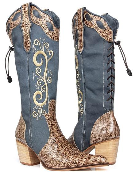 Bota Feminina Country Texana Couro Alta 4cores Capelli Boots